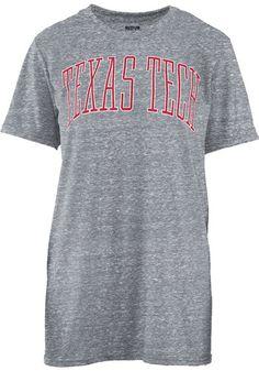 4272aaa2ba31ae Texas Tech Red Raiders Womens Grey Bell Lap Short Sleeve Crew T-Shirt