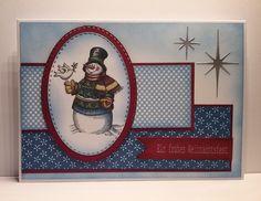 Weihnachtskarte mit Image von Laurie Furnell, Designerpapier, Stanze Sterne von Poppystamps,  Stanze oval mit Stich von Gummiapan. Christmas Greetings Snowman