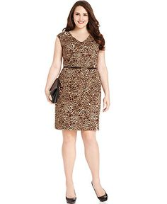 Jones New York Plus Size Dress Sleeveless Animal Print Belted Sheath