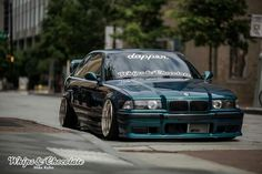BMW E36 M3 teal slammed stance dapper whips & chocolate