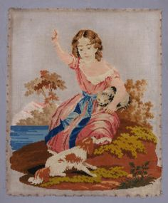 Antique Berlin Woolwork Embroidery Girl with Pet Cat Naughty Dog Circa 1850 | eBay