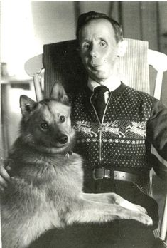Simo Hayha, the Finnish sniper with 505 confirmed kills in the Winter War 1939-1940, and his dog Kille.