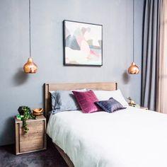 The Block Glasshouse 2014 – Guest bedrooms - Emma Lee home Dream Bedroom, Home Bedroom, Master Bedroom, Bedroom Decor, Bedroom Ideas, Pendant Lighting Bedroom, Bedside Lighting, Bedside Pendant Lights, Pendant Lamps