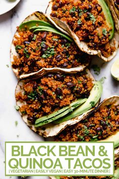 quinoa black bean tacos (with cilantro lime crema!) - meet your new favorite vegetarian quinoa black bean tacos recipe! vegetarian (vegan-friendly), 30 minutes, and made with pantry staples! Vegetarian Tacos, Tasty Vegetarian Recipes, Healthy Recipes, Tofu Recipes, Cooking Recipes, Whole Foods Vegan, Whole Food Recipes, Dinner Recipes, Black Bean Tacos