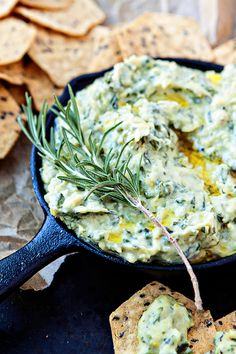Rosemary White Bean Artichoke Spinach Dip with 1 shallot, 2 cloves, 5 oz spinach, 1/2 tsp rosemary