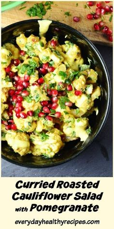 This gluten free curried roasted cauliflower salad with pomegranate comes with a quick and easy low fat yogurt dressing. It is a delicious vegetarian dish that's perfect for sharing. Ready in 30 minutes! Roasted Cauliflower Salad, Spiced Cauliflower, Cauliflower Recipes, Vegetarian Dish, Vegetarian Recipes, Easter Side Dishes, Pomegranate Salad, Low Fat Yogurt, Easy Family Dinners