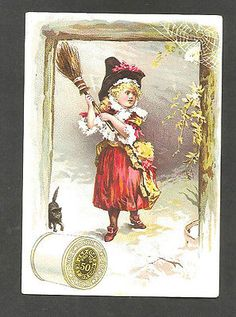 Trade Cards J & P Coats Six Cord Thread Little Witch Girl & Black Cat *93