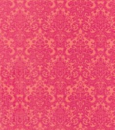 Buttercream™ Olivia Collection Cotton Fabric-Pink Orange Damask: