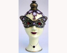 """Antique Brass Crystal accents, hand enameled Dimensions 3.5"""" height X 1.5""""…"""