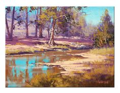 COXS RIVER REFLECTIONS Summer Oil Painting by GerckenGallery, $158.00