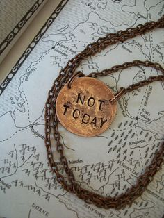 NOT TODAY Game of Thrones inspired Necklace or bracelet Hand Hammered copper jewelry Arya Stark on Etsy, $22.00