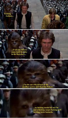 My thoughts exactly when I watch star wars.. where's Chewbacca medal...? Asshats...
