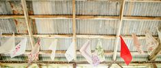Hankie bunting! Now that's a bunting I could go for... A Backyard Barn Wedding: Emily + Brandon