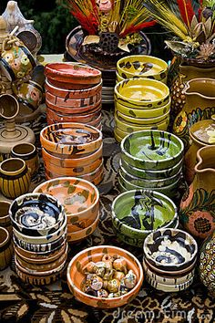 Romanian Traditional Cups And Bowls Stock Image - Image of design, vintage: 15751665 Romania People, Visit Romania, Romania Travel, Medieval Town, Bucharest, Eastern Europe, Fantasy, Traditional House, Pottery