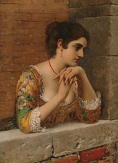 The Athenaeum - Venetian Beauty on Balcony Eugene de Blaas - 1932 Painting - oil on canvas