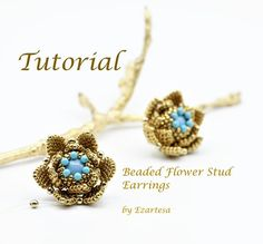Beaded stud earrings tutorial, pattern. Beaded flower stud earrings tutorial with turquoise beads and gold plated seed beads by Ezartesa.