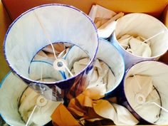 New Falmouth Harbour lampshades waiting to be unpacked.