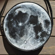 "I painted the Moon on a bag. 7"" round using Angelus acrylic leather paint http://ift.tt/1STsOVD"
