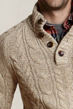 Land's End Canvas Button-neck Cable Sweater, Dark Camel Marl $50...my bro would look dashing in this