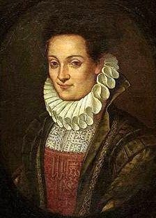 Lavinia Fontana (Italian painter, 1552-1614) Self Portrait 1595.  Cut work partlet.