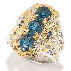 Gems en Vogue 2.84mm London Blue Topaz & Sapphire Elongated Ring
