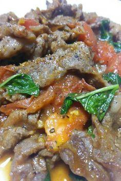 牛肉トマト バジル和風炒め