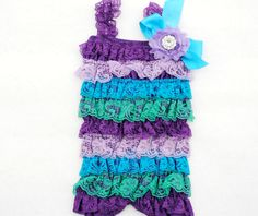 Peacock Inspired Purple Turquoise Green Lace Newborn Baby,Toddler, Girl Petti Romper Photo Prop. $18.95, via Etsy.