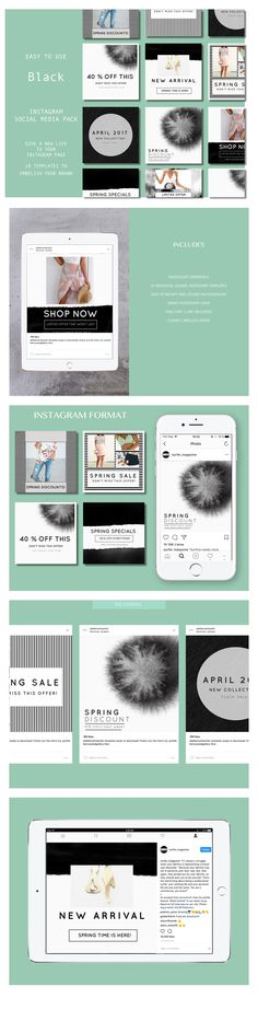 Spring Social, Social Media Template, Spring Is Here, Social Media Marketing, Diy Design, Photoshop, Templates, Instagram, Models