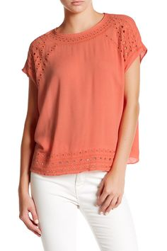 Cap Sleeve Embroidered Eyelet Blouse by Harlowe & Graham on @nordstrom_rack