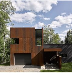 Canadian lake house by Paul Bernier features dark rusted metal cladding Metal Building Homes, Metal Homes, Building Design, Building A House, Building Ideas, Metal Buildings, Modern Buildings, Shop Buildings, Steel Cladding