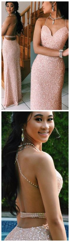 Sparkling Sequined Pink Prom Dress with Open Back Mini Prom Dresses, Strapless Prom Dresses, Grad Dresses, Ball Dresses, Sexy Dresses, Fashion Dresses, Party Dresses, Pink Evening Gowns, Evening Party