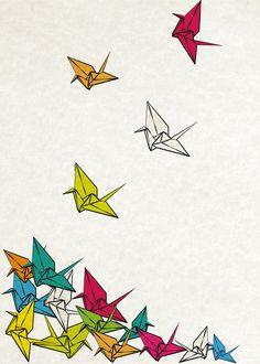 cranes origami Art Print