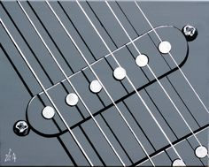 Acrylic painting of single coil electric guitar pickups. Minimal closeup.