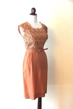 Vintage 1950s Nude Leaf Cut Out Wiggle Dress by RetroKittenVintage, $65.00