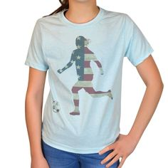 665831ed943 Soccer Vintage T-Shirt - Grand Old Kicker Girl | Light Blue, Women's, XL | Soccer  USA Patriotic Apparel