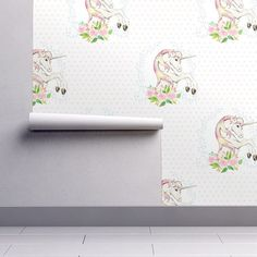 Unicorn Wallpaper Sweet Floral Unicorn Polka Dots By