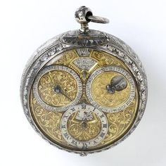 Engraved silver with gilt brass pocket watch, by Jean Rousseau, Geneve, c.1660-1670