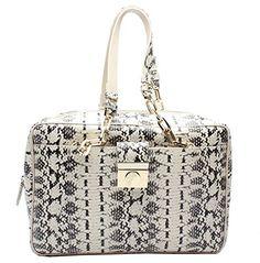 af48a8c33c Versace Collection Reptile Pattern Leather Satchel Handbag Versace Bag