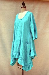 Flutter Dress Top In Turquoise