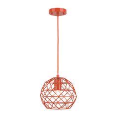 UBERHAUS 1 - Light Pendant  metal shade. 1 bulb E26 40wt not included. 7.09 in. Made of metal. Orange.