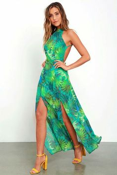 Your elegance and grace will be undeniable in the Tropic of Discussion  Green Tropical Print Maxi Dress! Chiffon backless maxi has a tying back and  slit ... 690473769eca