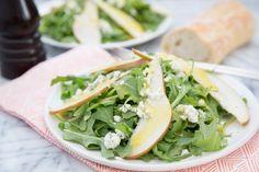 Recipe: Arugula, Pear & Blue Cheese Salad with Warm Vinaigrette   Kitchn