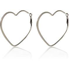 Silver tone heart hoop earrings