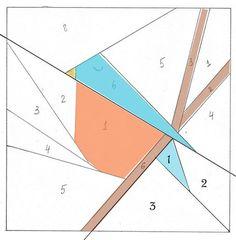 Птичка 1   Paper  piecing  Bird Quilt  block