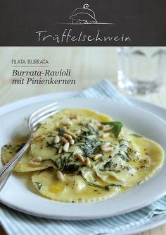 Burrata-Ravioli mit Pinienkernen #pasta #burrata