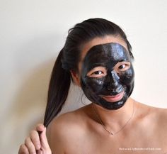 waiting for non-peelable DIY charcoal mask to dry