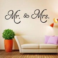 Wish | 1 Pcs Modern Fashion Accessories Wall Stickers Mr. & Mrs. PVC Wall Sticker Decal Living Room Home Decor Removable Convenient DIY