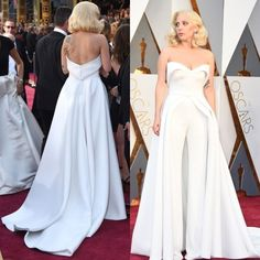 Unique 88th Oscar Lady Gaga Red Carpet Dresses 2017 White Pants Jumpsuit Outfits Evening Gowns Celebrity vestido de festa