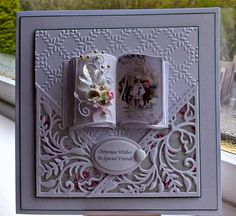 Debbie Stevens card - the little book is so cute! Christmas Cards To Make, Holiday Cards, Tattered Lace Cards, Spellbinders Cards, Marianne Design, Winter Cards, Flower Cards, Kids Cards, Anniversary Cards