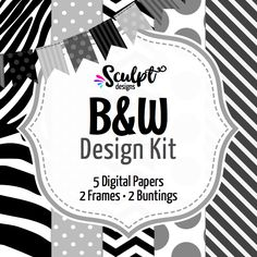 Stylish black and white design kit featuring 5 digital papers, 2 frames and 2 buntings.